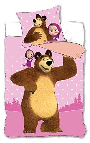 Set letto masha e orso 160x200cm copripiumino e federa 100% cotone originale