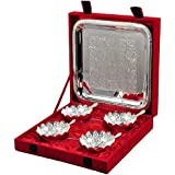 IndianCraftVilla Handmade Silver Plated Bowl Set Of 9 pieces Can be use as kitchenware and Holi,Diwali Anniversary Gift,Other Gift ideas