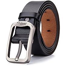 Jeep Tekon - Cinturón de piel para hombre, cuero, diseño clásico vintage, 3,8 cm de ancho, 104-124 cm
