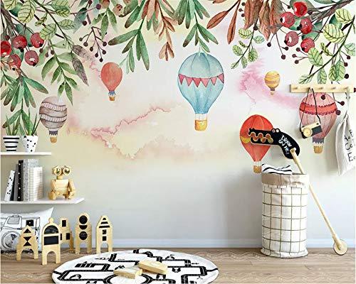 REAGONE Anpassen Jeder Größe 3D Tapete Nordic Einfache Heißluftballon Blume Kinderzimmer Hintergrund Wandmalerei Tapete, 150X105 Cm (59,1 X 41,3 In)