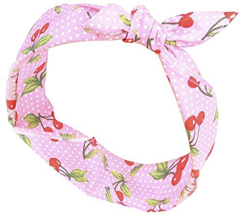 Preisvergleich Produktbild Killer Kirsche Damen Haarband Veola Cherry Kirschen Bandana Pink 53cm x 53cm