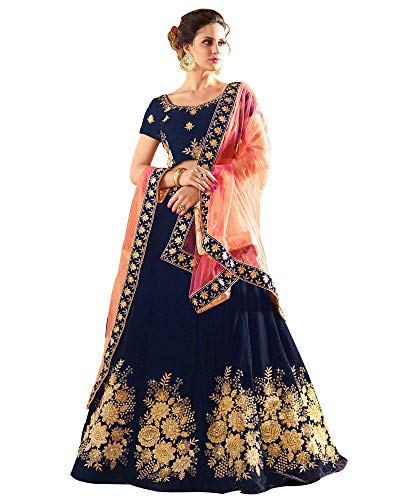 21st Fashion Women\'s Taffeta Lehenga Choli(Blue)