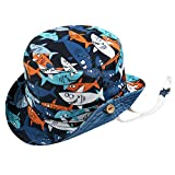 PinkLu Niño Sombrero Bebe Azul Sombrero Paja niña Estampado de Tiburon Sombrero de Pescador Secado rapido Visera