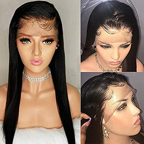 10A high quality 100% Unprocessed Remy Hair Extensions Human Hair Brazilian Straight Hair 150% Denisity Virgin Human Hair Lace Front Wigs For Black Women Natural Color (24inch)