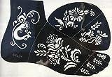 Tattoo Schablone Vorlage Blumen Designs S422R für Körper und rechnten Fuss für Henna Glitter Airbrush Tattoo geeignet