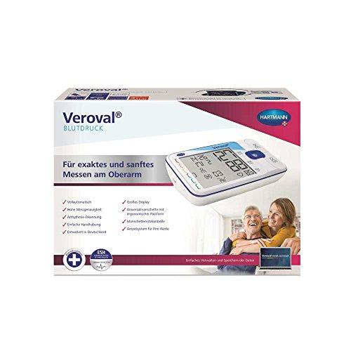 Blutdruck Air (Hartmann Veroval Oberarm-Blutdruckmessgerät, Qualitätssiegel ESH, Manschette, USB-Kabel)