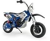 INJUSA - Motocicletta Cross Blue Fighter di 24V Raccomandato da +6 Anni con Ruote Gonfiabili e Freno del Tamburo