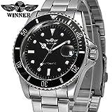 Hombres automático Mecánico relojes Winner marca de lujo resistente al agua para hombre de acero completa relojes con calendario