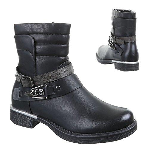 Damen Schuhe, 53005-PA, STIEFELETTEN Schwarz