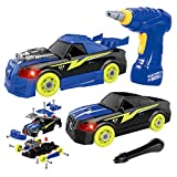 Maxxrace DIY Take Apart Toy Racing Car, 2 in 1 Build Your Own Car Construction Toys with Light & Sound, 26 Pcs Preschool Toy with Tool Drill , 3D Car Toys for Year Olds Boys , Toys for Girls Age