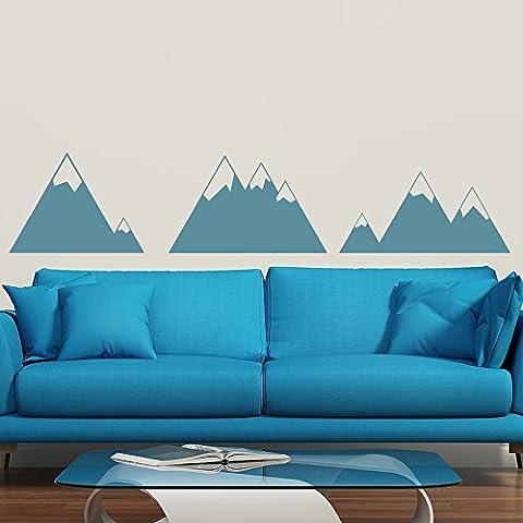 Berg Wandaufkleber Landschaft Wandtattoo Schlafzimmer Haus Dekor verfügbar in 5 Größen und 25 Farben X-Groß Wolke (05 Berg)