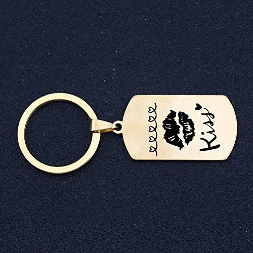 DCFVGB Gravierte Kuss Mode Schlüsselbund Liebhaber Freund Freundin Paar Schlüsselanhänger Geschenk Valentinstag Halter Exklusive Charme Tag