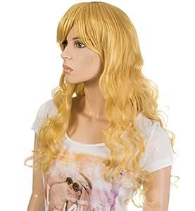VENKON femme-poils artificiels perruque longs cheveux blond longs bouclés pour diversifiée pour une coiffure qui tient