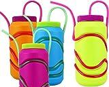 GYD CRAZY Die verrückte Strohhalm-Trinkflasche in knalligen Farben Sommerhit BPA-frei (Lila)