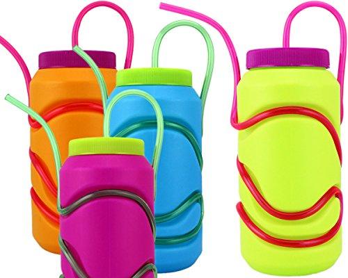 GYD CRAZY Die verrückte Strohhalm-Trinkflasche in knalligen Farben Sommerhit BPA-frei (Blau)