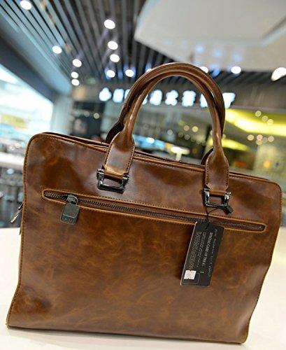Dayiss® Herren PU-Leder Handtasche Umhängetasche Schultertasche Aktentasche (Braun) Braun