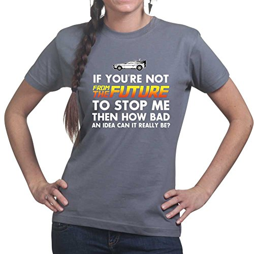 Back From The Future To Stop Me Funny Delorean Time Machine Ladies Womens T shir