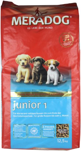 MERADOG CARE Junior 1 Hundefutter, Trockenfutter ohne Weizen für Welpen, junge Hunde und säugende Hündinnen, 12,5 Kg
