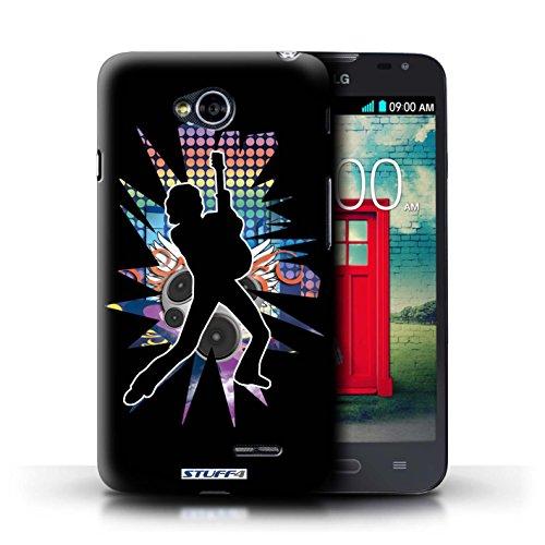 Kobalt® Imprimé Etui / Coque pour LG L70/D320 / Windmill Noir conception / Série Rock Star Pose Pencher Noir