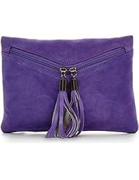 CNTMP, sacs à main des femmes, embrayages, embrayage, pochettes, sacs du soir, sacs de fête, sacs à la mode, de velours, de suède, franges, sac en cuir, 23x16,5x1cm (L x H x P)