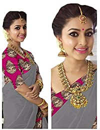 Rajeshwar Fashion Women's Cotton Saree With Blouse Piece (Km 1238 Happy Pink Border Grey_Grey)