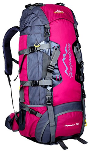 NEWZCERS 80L Borsa Sportiva Durevole Impermeabile Borsa a Spalla Trekking Camping Escursionismo Zaino di Viaggio Zaino da Montagna Confezione da Arrampicata per gli Uomini Rosa rossa