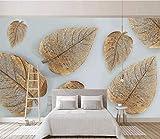 HONGYUANZHANG Einfaches Nordisches Blattgold Tapete Des Foto-3D Künstlerische Landschafts-Fernsehhintergrund-Tapete,80Inch (H) X 112Inch (W)