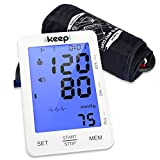 Ikeepi Blutdruckmessgerät Oberarm Blutdruck Messgerät Automatisches Blutdruckmessung Elektrisches und Arrhythmie-Erkennung für Oberarm mit Weitbereichsmanschette zu Hause, 2 x 90 Speicherplätze