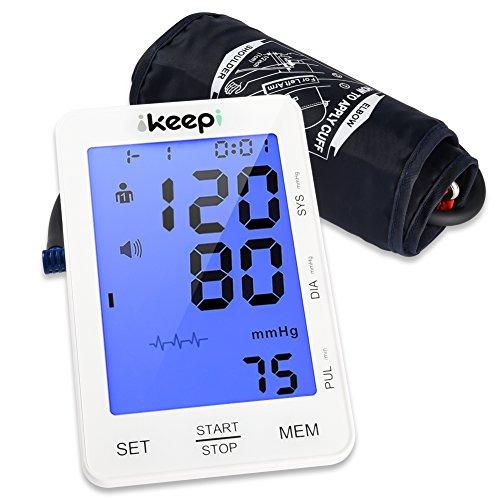 Ikeepi Blutdruckmessgerät Oberarm Blutdruck Messgerät Automatisches Blutdruckmessung Elektrisches und Arrhythmie-Erkennung für Oberarm mit Weitbereichsmanschette zu Hause, 2 x 90 Speicherplätze (Blutdruck Armmanschette Automatische)