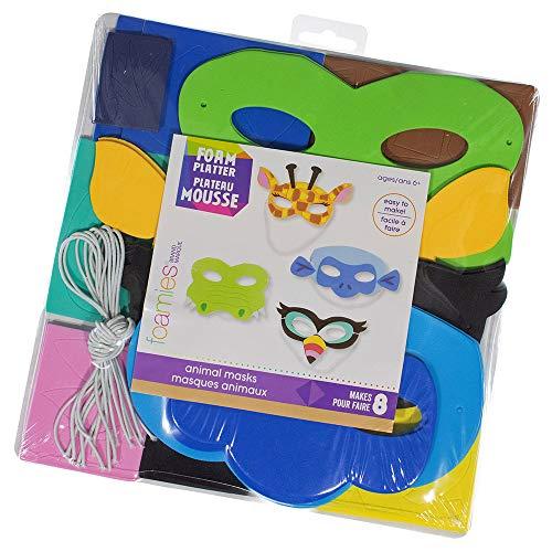 Tier-Masken-Set aus Schaumstoff, mit 116 Schaumstoff-Aufklebern, 8 Schaumstoffformen, 8 Gummibändern und 1 Karton-Unterstützung, ab 6 Jahren