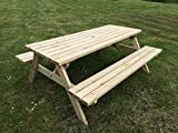 6FT PICNIC TABLE - COMMERCIAL STYLE & QUALITY - HEAVY DUTY - NATURAL
