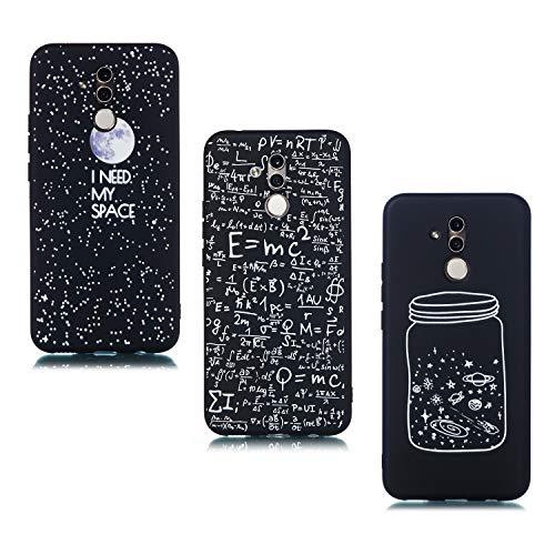 ChoosEU kompatibel mit 3 Hüllen Huawei Mate 20 Lite Hülle Silikon Muster Schwarz Handyhülle für Mädchen Frau Mann, Dünn Silikonhülle Bumper Stoßfest Case Schutzhülle Soft - Mond Digital Flasche -