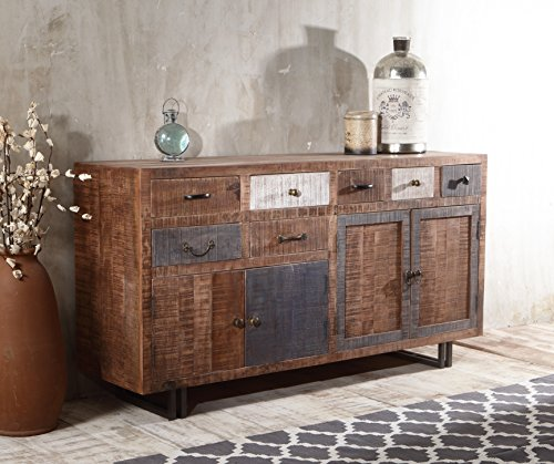 The Wood Times Sideboard Vintage Wohnzimmerschrank Massiv New Rustic Mangoholz, FSC Zertifiziert, BxHxT 160x90x40 cm - 4