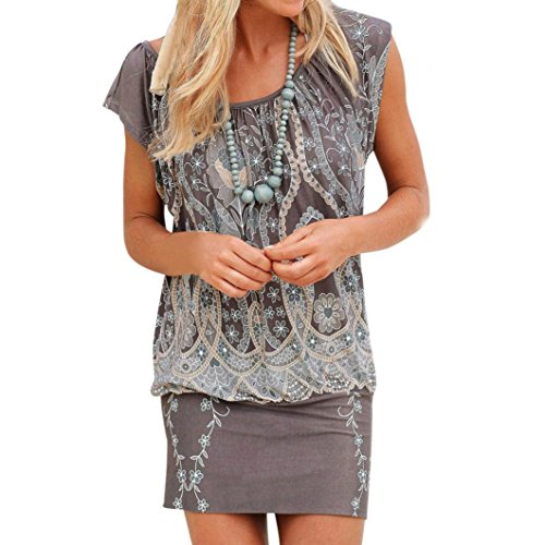 ZIYOU Boho Sommer Minikleid Damen, Strand Retro Vintage Kurz Kleider/Geblümt Lange Bluse Oberteile (Grau, M)