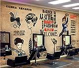 Afashiony 3D-Wandbild Tapete Wanddekoration Retro-Trend Frisur Schönheitssalon Friseurladen Hintergrundwand 3D-Wandbild Tapete-350X250Cm