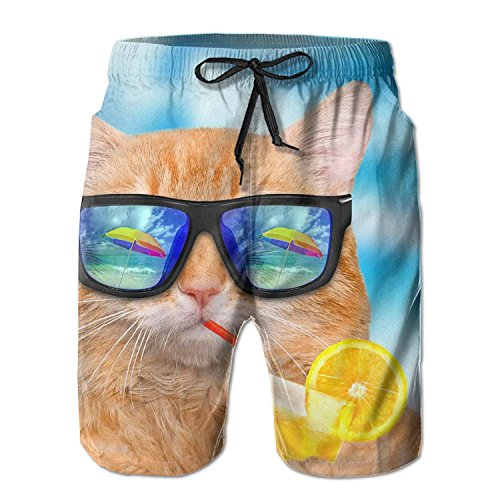 khgkhgfkgfk Summer Cat Beach Pants of Men Funny Summer Pants Casual Quick - Dry Bathing Suits for Swim Trunks Cargo Shorts with Ventilation Summer Fast-Drying Beach Pants Medium Lace Velvet Romper