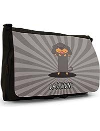 German Cartoon Dogs Large Messenger Black Canvas Shoulder Bag - School / Laptop Bag