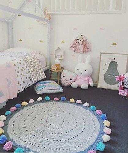 Here&There Baby Teppich Matte Kinderteppich Kinderzimmer Schlafzimmer Wohnzimmer Boden Babyzimmer Junge Dekoration Spielteppich Handball Ballmatte (110 x 110 cm, Bunt)