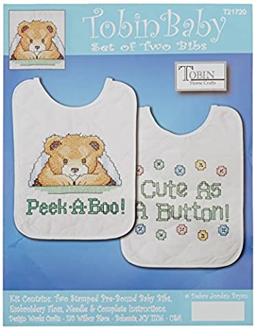 Tobin Under The Covers Bib Pair Stamped Cross Stitch Kit, 8 by 10-Inch, Set of 2