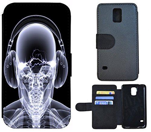Flip Cover Schutz Hülle Handy Tasche Etui Case für (Apple iPhone 5 / 5s, 1103 London Big Ben England Rot Grau) 1100 Skelett Totenkopf Grau Schwarz