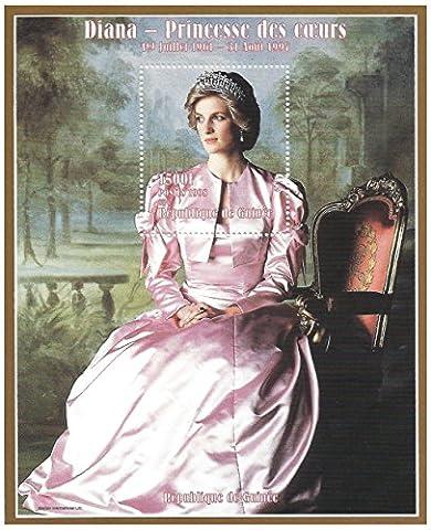 Diana, princesse de coeurs étourdissement feuille de timbres pour les collectionneurs - portrait apporté à la vie / 2008 / Guinée