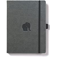 Dingbats D5008GY Wildlife Medium A5+ Hardcover Notebook - PU Leather, Micro-Perforated 100gsm Cream Pages, Inner Pocket, Elastic Closure, Pen Holder, Bookmark (Lined, Grey Elephant)
