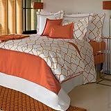 #8: Linenwalas 100% Organic Cotton Geometric Design King Size Duvet Cover with 2 Pillow Covers - Orange & White- 90