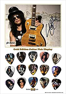 Printed Picks Company Slash New Gold Edition Guitar Pick Display with 15 Guitar Picks