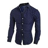 Elonglin Herren Hemd Business Freizeithemd fünfeckiger-Stern Muster gedruckt Regular fit Baumwolle Dunkelblau XX-Large