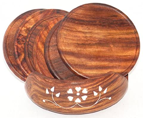 Wooden Round Coasters Hand Crafted Embedded Plastic Florals Motifs Carvings Set of 6 Pcs
