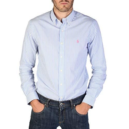 Ralph lauren camicia in cotone rigata button down, uomo, taglia l.