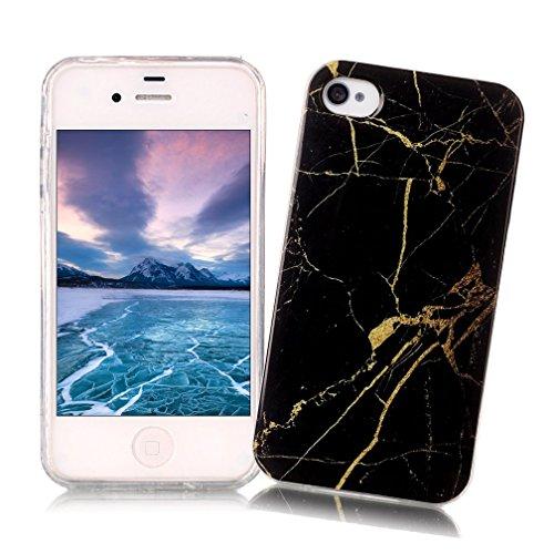 Coque iPhone 4/4S XiaoXiMi Etui en Marbre Texture Housse de Protection Soft TPU Silicone Case Cover Coque Flexible Lisse Etui Ultra Mince Poids Léger Housse Anti Rayure Anti Choc pour iPhone 4/4S - Fissure Dorée