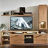 TV-Media Wohnwand Set  Wildeiche Bianco mit Lack Laminat Graphit  mit Hängevitrine, Lowboard und Wandregal  inkl. LED-Beleuchtung