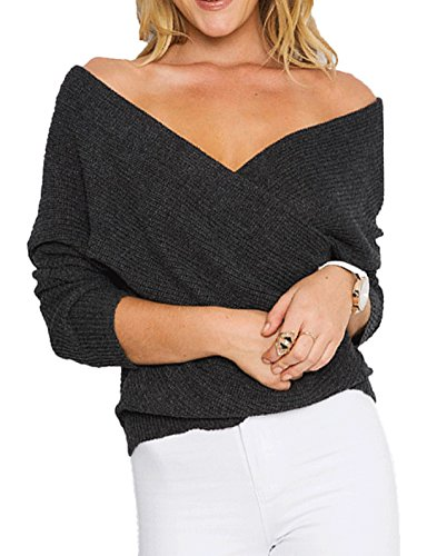 Vogue of Eden Women Loose Deep V-Neck Low Cut Knit Pullover Sweater Black (Cut Low Deep)